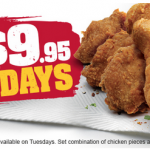 DEAL: KFC – 9 pieces for $9.95 Tuesdays (starts 21 February 2017)