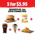 DEAL: Hungry Jack's 5 for $5.95 Super Stunner (Whopper Junior, Fries, Coke, 3 Nuggets, Drumstick)