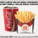 DEAL: Hungry Jack's Free Large Meal Upgrade Voucher (valid until 31 December 2016)