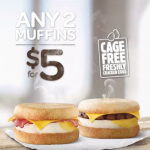 DEAL: Hungry Jack's – 2 Muffins for $5 (Bacon & Egg or Sausage & Egg)
