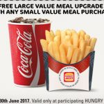 DEAL: Hungry Jack's Free Large Meal Upgrade Voucher (valid until 30 June 2017)