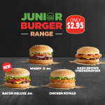DEAL: Hungry Jack's $2.95 Bacon Deluxe Junior, Hash Brown Cheeseburger, Whopper Junior & Chicken Royale