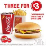 DEAL: McDonald's 3 for $3 – Cheeseburger, Small Fries & Small Coke (starts 10 May 2017)