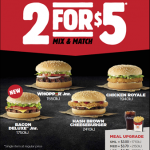 DEAL: Hungry Jack's $2 for $5 (Bacon Deluxe Junior, Hash Brown Cheeseburger, Whopper Junior & Chicken Royale) – QLD/SA