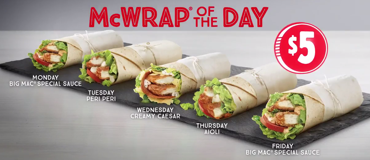 The McDonald's wrap changes each day How much do the McDonald's wraps cost? All the wraps are the same price, no matter whether you go for grilled or crispy chicken.