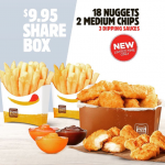 DEAL: Hungry Jack's $9.95 Share Box – 18 Nuggets, 2 Medium Chips & 3 Sauces