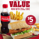 DEAL: Red Rooster – $5 Half Rippa Roll, Small Chips & 250ml Coke