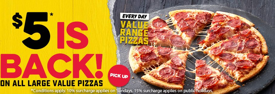 Deal Domino S 5 Cheaper Everyday Menu 5 Back On All Value Range Pizzas Sides Frugal Feeds