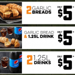 DEAL: Domino's – 2 Garlic Breads $5, 2 1.25L Drinks $5, Garlic Bread + 1.25L Drink $5 (until 4 June 2020)