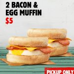 DEAL: Hungry Jack's App – 2 Bacon & Egg Muffins for $5 (until 7 September 2020)