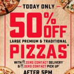 DEAL: Domino's – 50% off Large Traditional & Premium Pizzas after 5pm (6 June 2020)