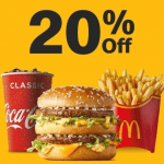 DEAL: McDonald's – 20% off with Minimum $10 Spend using mymacca's app (until 16 August 2020)