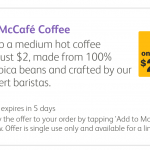 DEAL: McDonald's – $2 Medium McCafe Coffee with mymacca's app (until 7 July 2020)