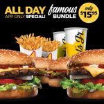 DEAL: Carl's Jr App – $15.95 Famous Bundle with 4 Burgers + 2 Small Fries + 2 Small Cokes, $1 Small Fries (2-5pm), $2 Sundae (2-5pm)