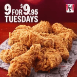 DEAL: KFC – 9 for $9.95 Hot & Spicy Tuesdays with KFC App (Selected Stores only)
