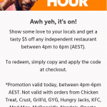 DEAL: Menulog – $5 off Independent Restaurants (4-6pm AEST 21 September 2020)