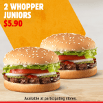 DEAL: Hungry Jack's App – 2 Whopper Juniors for $5.90 (until 24 August 2020)