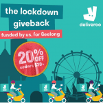 DEAL: Deliveroo – 20% off Orders over $30 at Participating Geelong Restaurants on Monday to Thursday