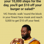 DEAL: Grill'd – $10 off with 10,000 Steps Walked (5,000 in VIC) for Relish Members