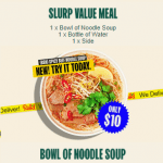 DEAL: Roll'd – $5 Cup of Noodle Soup, $10 Bowl of Noodle Soup, $15 Slurp Value Meal