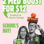 DEAL: Boost Juice – 2 Medium Tropical or Berry Boost for $12 at Selected Stores (until 11 October 2020)