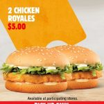 DEAL: Hungry Jack's App – 2 Chicken Royale Burgers for $5 (until 7 June 2021)