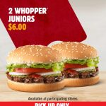DEAL: Hungry Jack's App – 2 Whopper Juniors for $6 (until 23 November 2020)