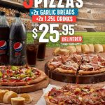 DEAL: Domino's – 3 Large Pizzas, 2 Garlic Breads & 2 1.25L Drinks for $25.95 Delivered via Facebook
