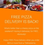 "DEAL: Menulog – Free Pizza Delivery with $25 Spend for ""Delivered By Restaurant"" Orders (until 1 November 2020)"