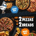 DEAL: Pizza Capers – 2 Large Base Pizzas + 2 Sides $32.95 Pickup, 2 Large Capers Collection Pizzas + 2 Breads $39.95 Pickup
