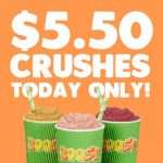 DEAL: Boost Juice – $5.50 Selected Crushes – Mango Tango Crush, Tropical Crush, Watermelon Crush (24 November 2020)