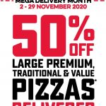 DEAL: Domino's – 50% off Large Traditional, Premium & Value Pizzas Delivered (until 29 November 2020)