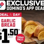 DEAL: Domino's – $1.50 Garlic Bread via Domino's App (5 December 2020)