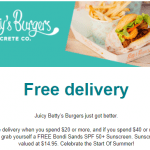 DEAL: Betty's Burgers – Free Delivery over $20 & Free Sunscreen over $40 via Deliveroo