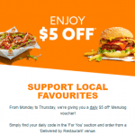 "DEAL: Menulog – $7 or $5 off $15 Spend at ""Delivered By"" Restaurants for Pickup or Delivery (5 May 2021)"