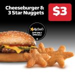 DEAL: Carl's Jr – $3 Cheeseburger & 3 Star Nuggets via App (until 19 May 2021)