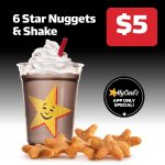 DEAL: Carl's Jr – 6 Star Nuggets & Shake for $5 via App (until 19 May 2021)