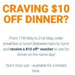 DEAL: Menulog – $10 off Dinner Same Day When You Order From 6am-1pm (17-21 May 2021)